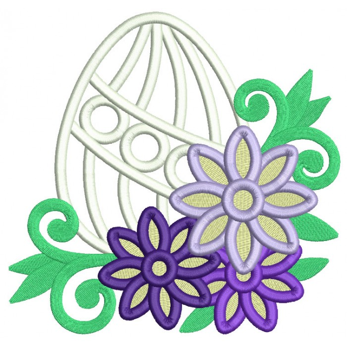 Easter Egg With Flowers and Green Vines Filled Machine Embroidery Design Digitized Pattern