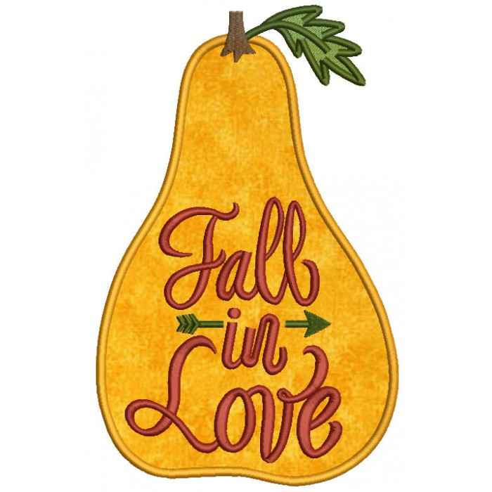 Fall In Love Gourd Fall Applique Machine Embroidery Design Digitized Pattern