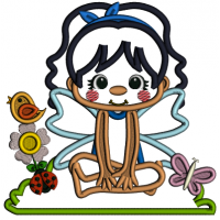 Flower Fairy With Flowers and a Bird Applique Machine Embroidery Design Digitized Pattern