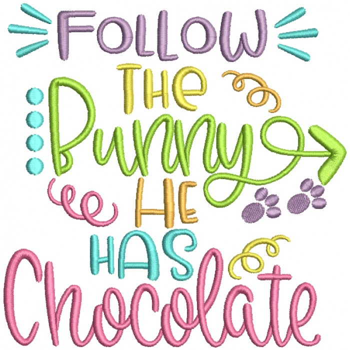 Follow The Bunny He Has Chocolate With Arrow Filled Easter Machine Embroidery Design Digitized Pattern