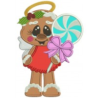 Gingerbread Man Angel Holding a Popsicle Applique Christmas Machine Embroidery Design Digitized Pattern