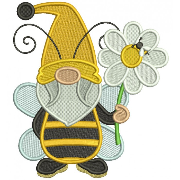 Gnome Bee Holding a Flower Filled Machine Embroidery Design Digitized Pattern