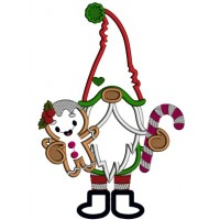 Gnome Holding Gingerbread Man Christmas Applique Machine Embroidery Design Digitized Pattern