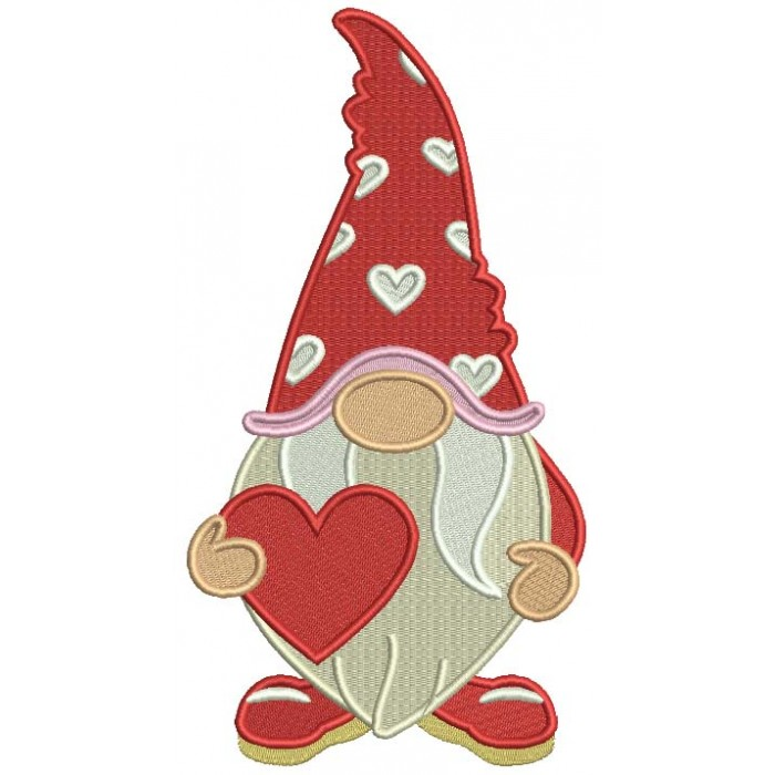 Gnome Holding a Big Heart Valentine's Day Filled Machine Embroidery Design Digitized Pattern