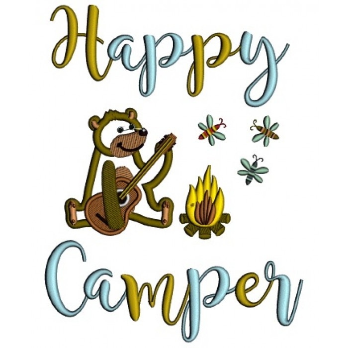 Happy Camper Cute Bear Playing Guitar By The Fire Applique Machine Embroidery Design Digitized Pattern