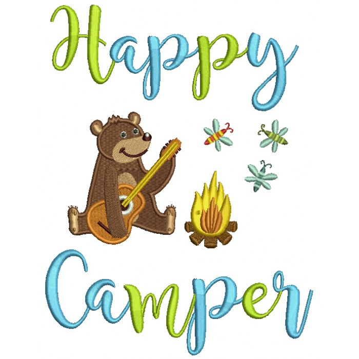 Happy Camper Cute Bear Playing Guitar By The Fire Filled Machine Embroidery Design Digitized Pattern