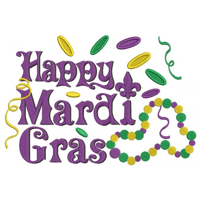 Happy Mardi Gras Beads And Coins Filled Machine Embroidery Design Digitized Pattern