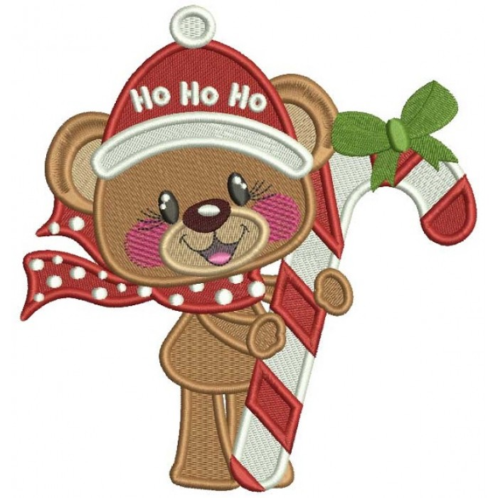 Ho Ho Ho Cute Bear With Candy Cane Filled Christmas Machine Embroidery Design Digitized Pattern
