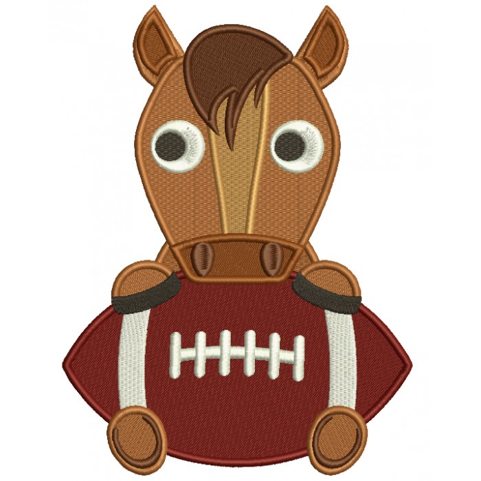 Horse With a Football Sports Filled Machine Embroidery Design Digitized Pattern