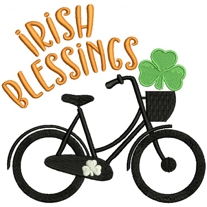 Irish Blessings Bicycle With Shamrock St. Patrick's Day Filled Machine Embroidery Design Digitized Pattern