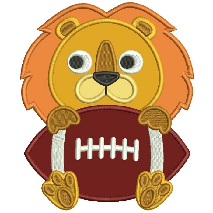 Lion With a Football Sports Applique Machine Embroidery Design Digitized Pattern