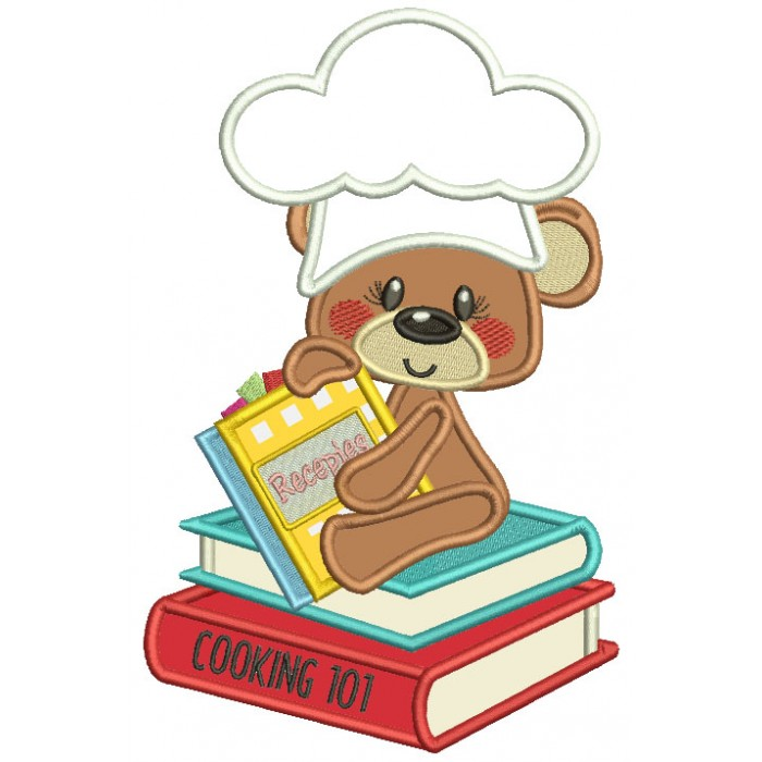 Little Bear Cook Sitting On The Recipe Book Applique Machine Embroidery Design Digitized Pattern