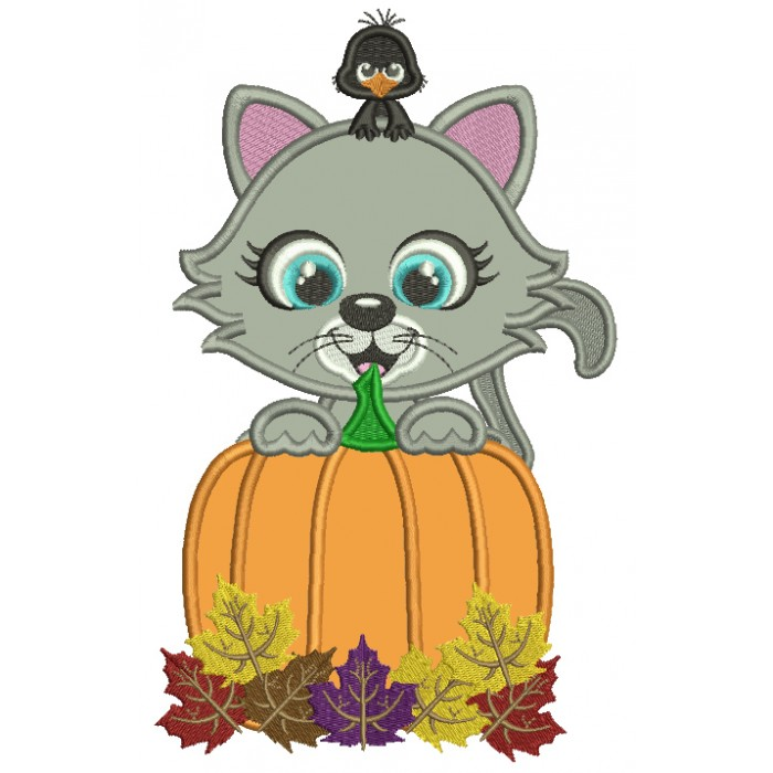 Little Cat Behind a Huge Pumpkin With a Cute Crow Fall Applique Thanksgiving Machine Embroidery Design Digitized Pattern