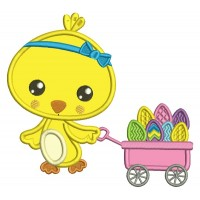 Little Chick Pulling Wagon With Easter Eggs Applique Machine Embroidery Design Digitized Pattern
