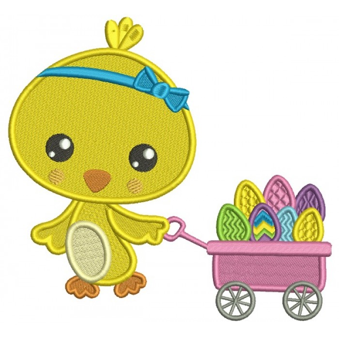 Little Chick Pulling Wagon With Easter Eggs Filled Machine Embroidery Design Digitized Pattern