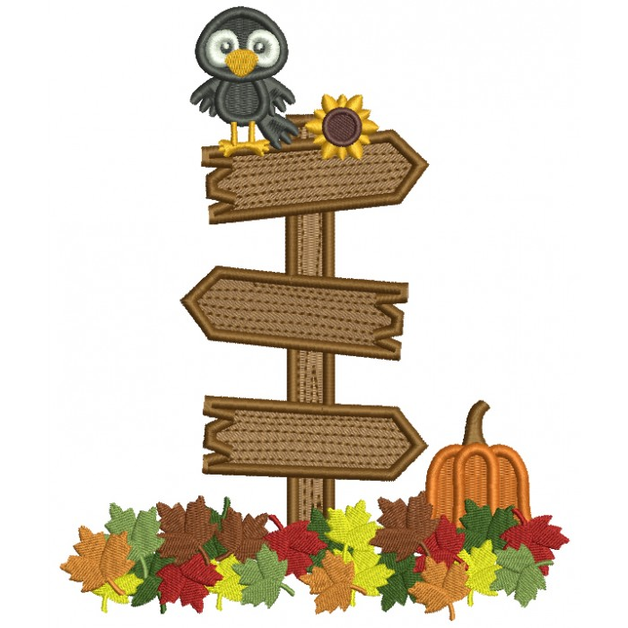 Little Crow Sitting On Crossroads Sign With Pumpkin And Fall Flowers Halloween Filled Machine Embroidery Design Digitized Pattern