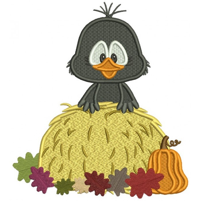 Little Crow Sitting On Hay With Leaves Thanksgiving Filled Machine Embroidery Design Digitized Pattern