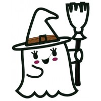 Little Ghost With a Broom Halloween Applique Machine Embroidery Design Digitized Pattern