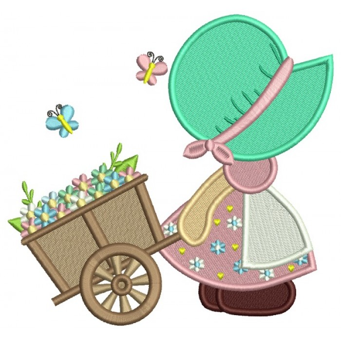 Little Girl Pulling Easter Cart Filled Machine Embroidery Design Digitized Pattern