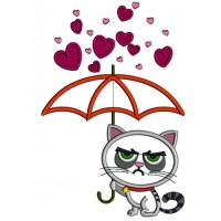 Looks Like Grumpy Cat Holding Umbrella Applique Machine Embroidery Design Digitized Pattern