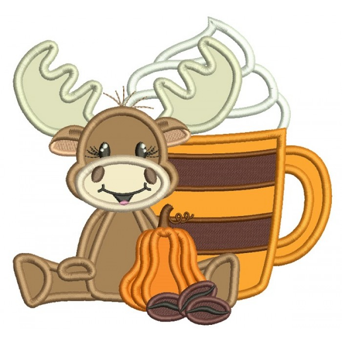 Moose With a Big Coffee Cup Fall Applique Thanksgiving Machine Embroidery Design Digitized Pattern