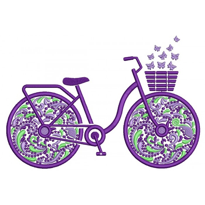 Ornate Flower Bicycle Filled Machine Embroidery Design Digitized Pattern