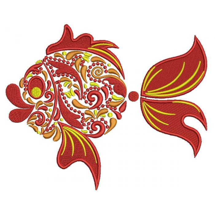 Ornate Goldfish Filled Machine Embroidery Design Digitized Pattern