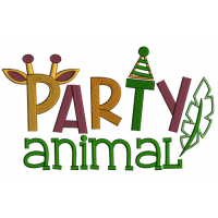 Party Animal Giraffe Ears Applique Machine Embroidery Design Digitized Pattern