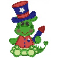 Patriotic Dino Wearing a Hat Applique Machine Embroidery Design Digitized Pattern