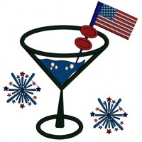 Patriotic Margarita With American Flag Applique Machine Embroidery Design Digitized Pattern