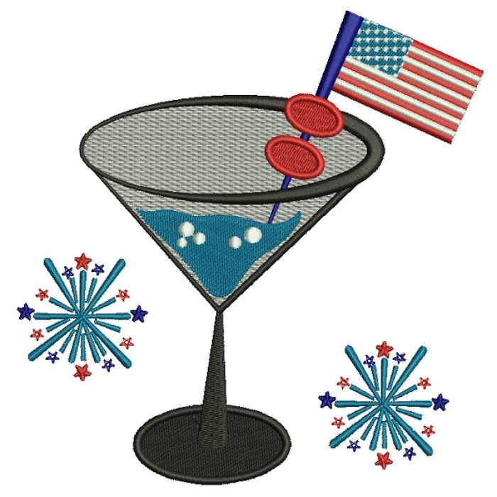 Patriotic Margarita With American Flag Filled Machine Embroidery Design Digitized Pattern