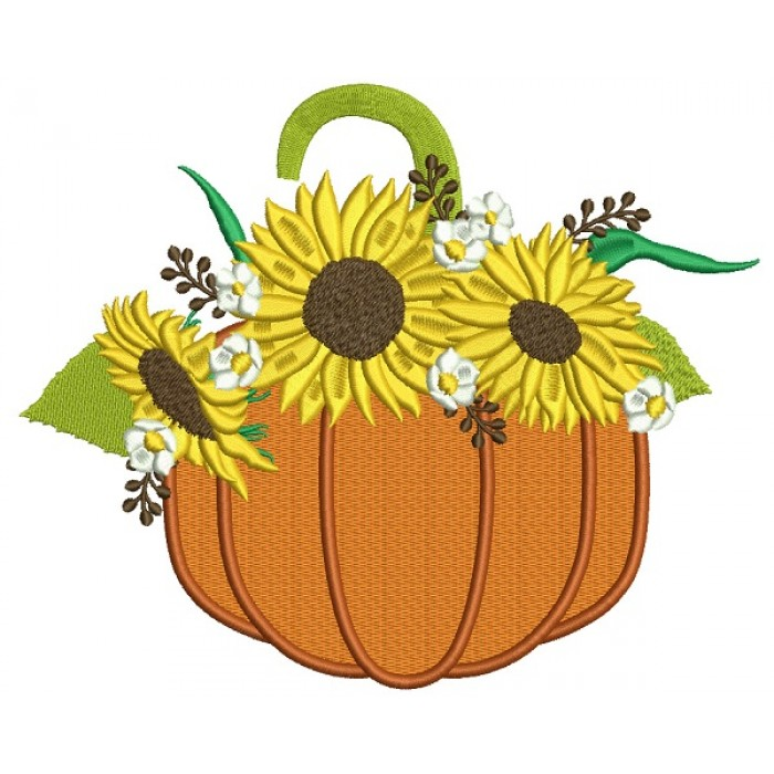 Pumpkins With Sunflowers Thanksgiving Filled Machine Embroidery Design Digitized Pattern