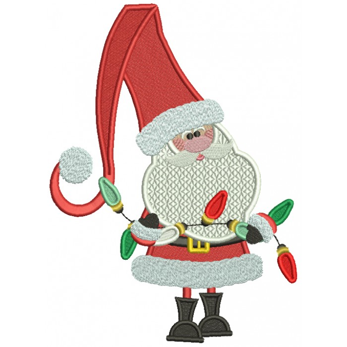 Santa Holding Christmas Lights Christmas Filled Machine Embroidery Design Digitized Pattern