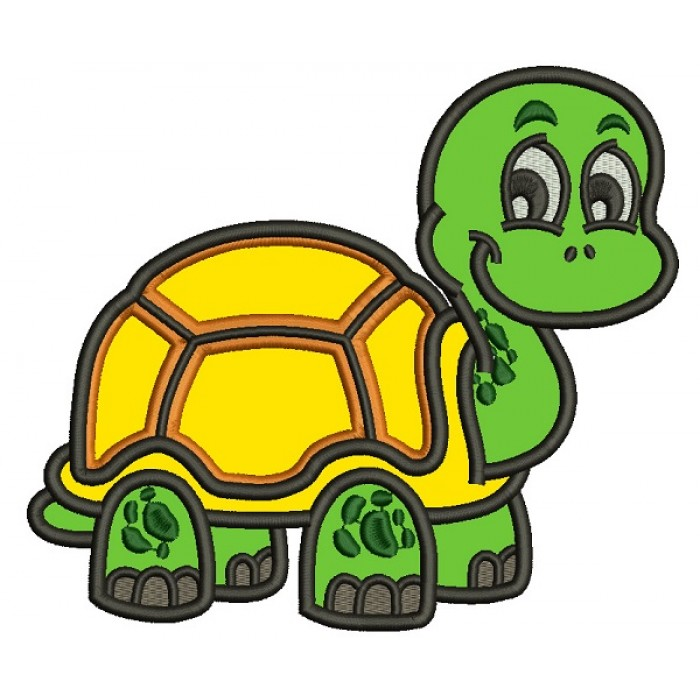 Smiling Cute Little Turtle Applique Machine Embroidery Design Digitized Pattern