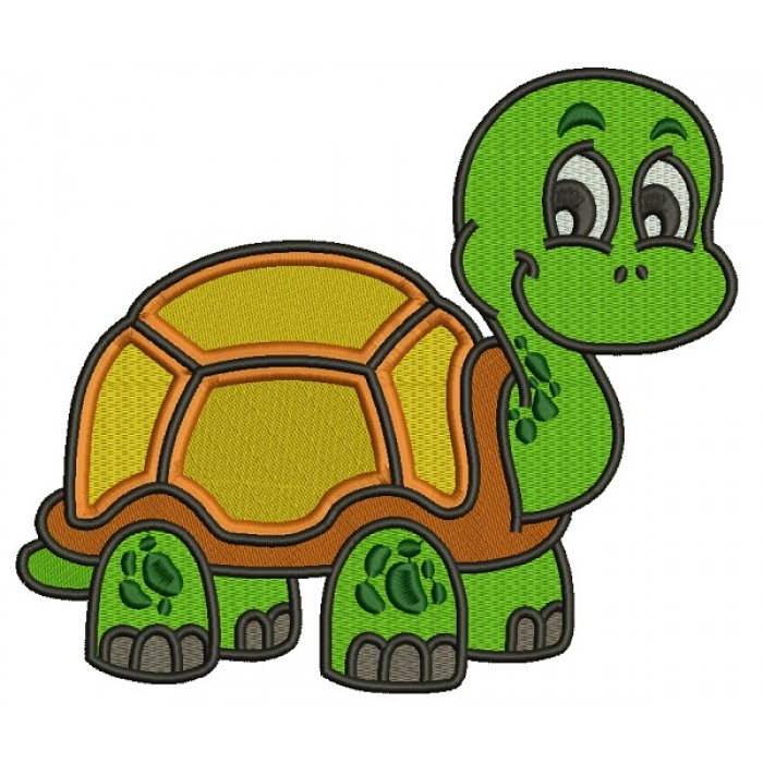 Smiling Cute Little Turtle Filled Machine Embroidery Design Digitized Pattern