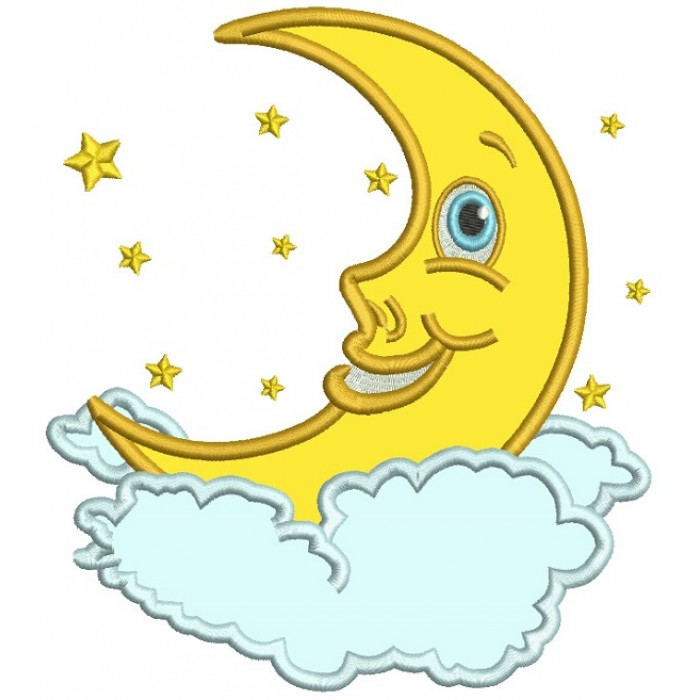 Smiling Moon In The Clouds Applique Machine Embroidery Design Digitized Pattern