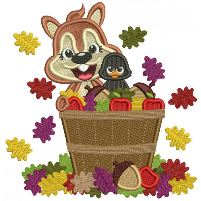 Squirrel Sitting In The Basket With Acorns And Leaves Fall Filled Machine Embroidery Design Digitized Pattern