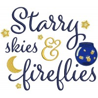 Starry Skies And Fireflies Applique Machine Embroidery Design Digitized Pattern