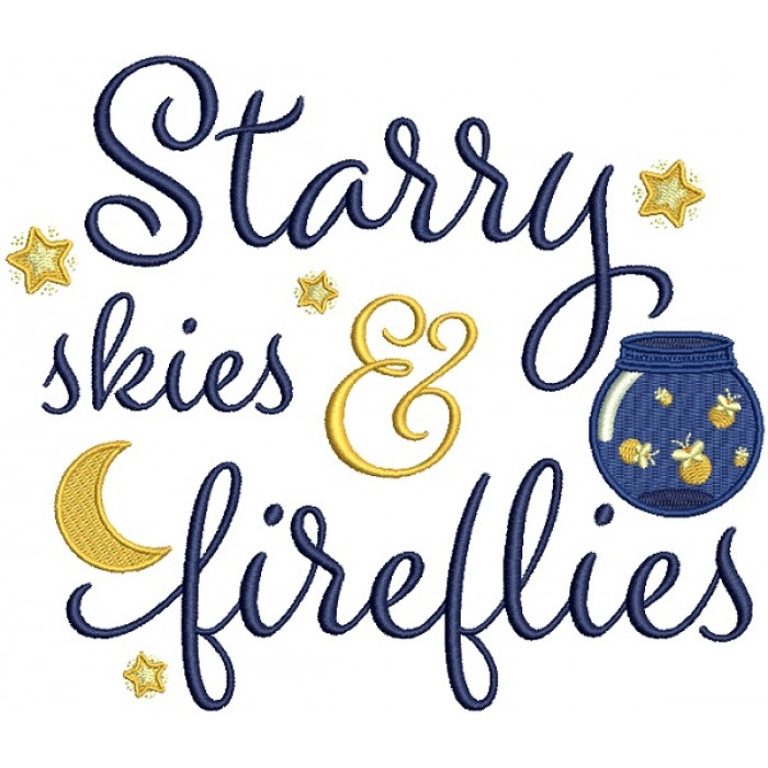 Starry Skies And Fireflies Filled Machine Embroidery Design Digitized Pattern