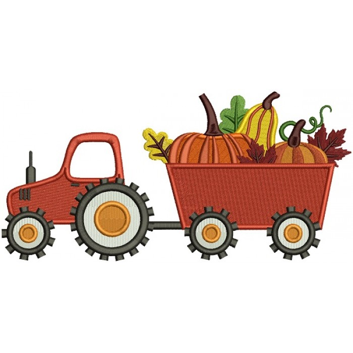 Tractor With Pumpkins Fall Thanksgiving Filled Machine Embroidery Design Digitized Pattern