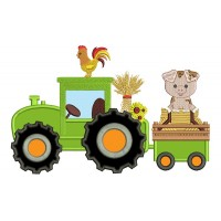 Tractor With a Piggy And Rooster Fall Applique Thanksgiving Machine Embroidery Design Digitized Pattern