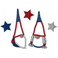 Two Gnomes Wearing American Hats 4th Of July Patriotic Applique Machine Embroidery Digitized Design Pattern