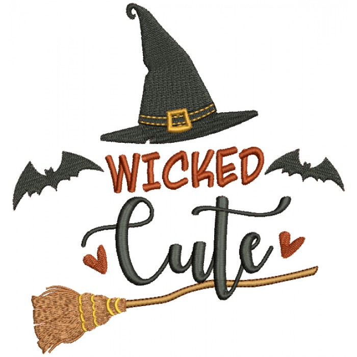 Wicked Cute Witch Hat With a Broom Halloween Filled Machine Embroidery Design Digitized Pattern