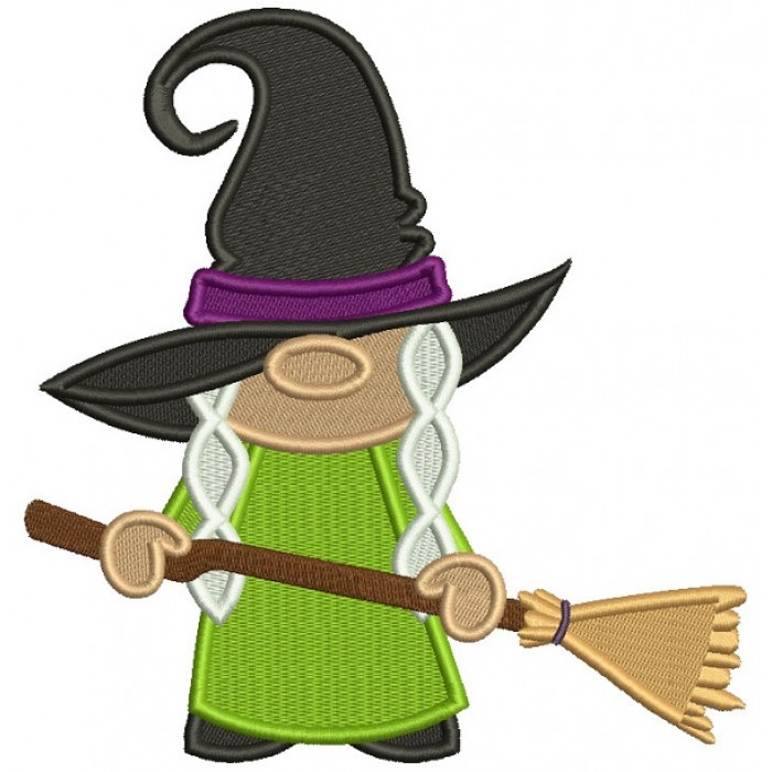 Witch Wearing Huge Hat Holding a Broom Halloween Filled Machine Embroidery Design Digitized Pattern