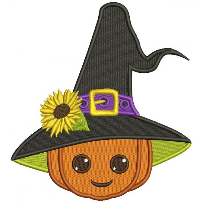 Wizard Pumpkin With Sunflower and a Big Hat Halloween Filled Machine Embroidery Design Digitized Pattern