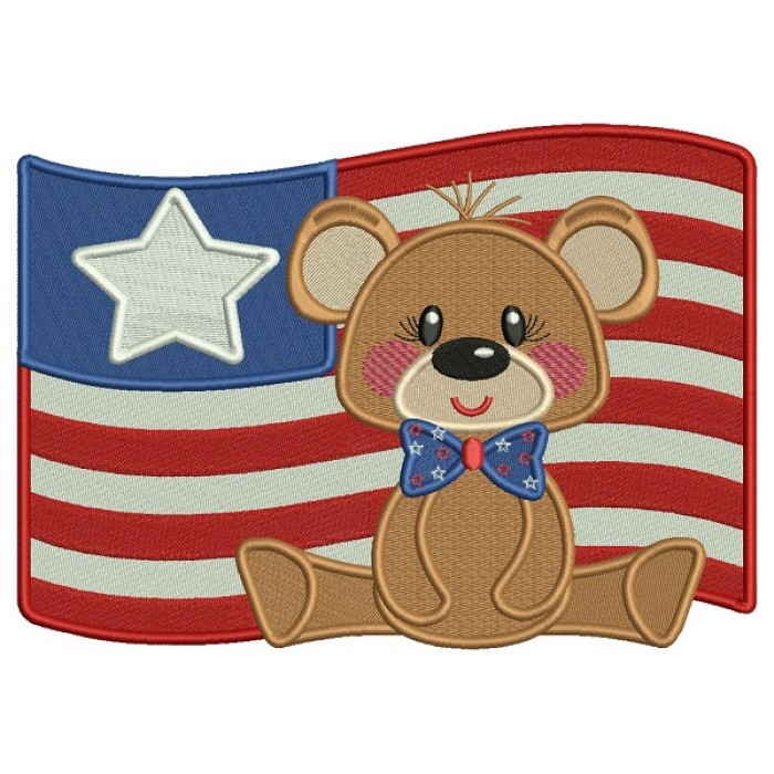 4th Of July Bear With Big American Flag Filled Machine Embroidery Design Digitized Pattern