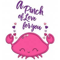 A Pinch Of Love For You Crab Valentine's Day Applique Machine Embroidery Design Digitized Pattern