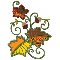 Autumn Leaves Applique Machine Embroidery Design Digitized Pattern