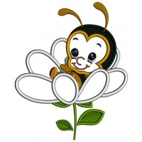 Baby Bee Sitting Inside a Flower Applique Machine Embroidery Design Digitized Pattern