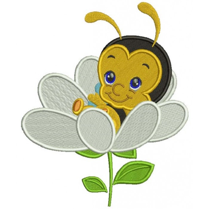 Baby Bee Sitting Inside a Flower Filled Machine Embroidery Design Digitized Pattern